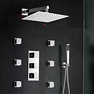 Modern Muurbevestigd Waterval / Thermostatisch / Regendouche / Wide spary / Inclusief handdouche with  Messing ventielTwee handgrepen
