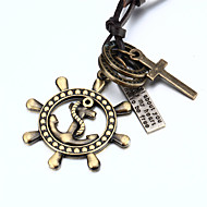 Vilam® Dual Ring Pirate Ship Paddle Cross Men's Adujustable PU Leather Pendant Necklace