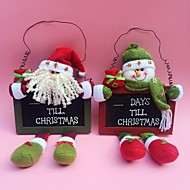 "35CM/13.7"" 2pcs/set Christmas Santa Claus Snowman Countdown Blackboard Hanging Tree Decor Wood Door hanging Ornaments"