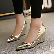 Women's Shoes Patent Leather Wedge Heel Pointed Toe Heels Dress Silver / Gold