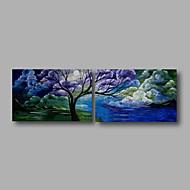Ručně malované Krajina / Abstraktní krajinkaModerní Dva panely Plátno Hang-malované olejomalba For Home dekorace