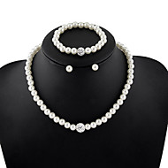 בגדי ריקוד נשים סט תכשיטים שרשרת וצמידים שרשראות גדילים שרשרת פנינים Circle Shape תכשיטים פנינה אופנתי אלגנטי ירח דבש לבן תכשיטים לחתונה