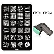 2pcs Nail Stamping Plates French Designs Stencil Nail Art Stamp DIY Beauty Nail Template Tools+1set Nail Stamper Scraper