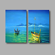 Ready to Hang Stretched Oil Painting Hand-Painted Canvas Wall Art Modern Blue Sky Sea Boats Abstract Two Panels