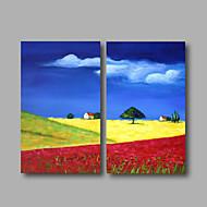 pronta per essere appesa allungata pittura a olio dipinta a mano di arte moderna cielo blu villaggio astratte due pannelli
