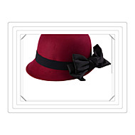 Autumn and Winter Fashion Wild Tide British Style Bow Hat in Europe and America Retro Small Fedoras Wool Hat Ms.