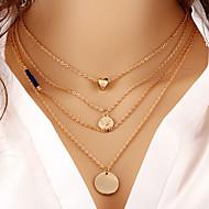 בגדי ריקוד נשים שרשראות Layered Round Shape Heart Shape ציפוי זהב סגסוגת לב שכבות מרובות אופנתי זהב תכשיטים ל יומי 1pc
