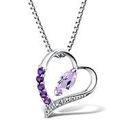 dámská móda stříbrných set s ametyst a diamantu tvaru srdce přívěsek s stříbrnou krabičku řetězem