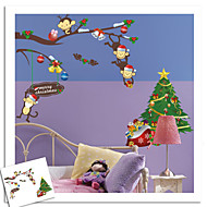 New Years Merry Christmas Monkey Tree Wall Stickers Wall Decor , PVC Removable