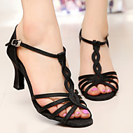 Fashion Women's Girl's Dance Shoes Latin / Salsa / Samba Satin Sandals Customized Heel Black