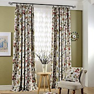 (Two Panels)Country Flower and Birds Printed Cotton Polyester Blend Blackout Curtain(Sheer Not Included)