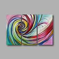 Ready to Hang Hand-Painted Oil Painting on Canvas Wall Art Modern Pink Blue Home Deco Abstract Three Panels