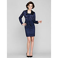 Lanting Sheath/Column Mother of the Bride Dress - Dark Navy Short/Mini Long Sleeve Lace / Charmeuse
