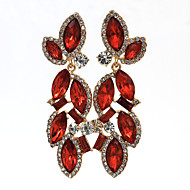 Women's Fashion Red Floral Rhinestones Earring 1pair