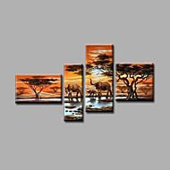 מצויר ביד L ו-scape / נוף אבסטרקטמודרני ארבעה פנלים בד ציור שמן צבוע-Hang For קישוט הבית