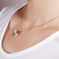 Women's Elegant sweet double butterfly alloy Diamond Pendant Necklace