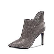 Damenschuhe - Stiefel - Büro / Kleid / Party & Festivität - Leder - Stöckelabsatz - Absätze / Modische Stiefel - Schwarz / Grau