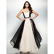 TS Couture Formal Evening Dress - Color Block A-line Strapless Ankle-length Chiffon with Draping