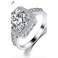 טבעות הצהרה זירקון זירקוניה מעוקבת אבן נוצצת סגסוגת אופנתי כסף מוזהב תכשיטים חתונה Party יומי קזו'אל 1pc