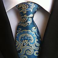 Men Wedding Cocktail Necktie At Work Bleu Flower Pattern Tie