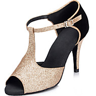 Customizable Women's Dance Shoes Suede / Leather Suede / Leather Latin Heels Stiletto Heel Indoor Gold