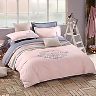 Solid Cotton 4 Piece Duvet Cover Sets