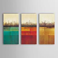 Ölgemälde moderne abstrakte Gebäuden von 3 handgemalte Leinwand mit gestrecktem gerahmten