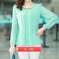 kvinners pluss størrelsen hvit / svart / grønn rundt halsen bluse, chiffon lang ermet