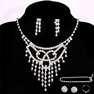 Bridal Events Party Jewelry Sets Lady Crystal Necklace Ring Bracelet Earrings Gifts with 2 Pairs of Rhinestone Earrings