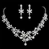 Women's Alloy Silver Crystal Neclace & Earrings Jewelry Set for Wedding Party