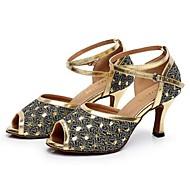 Scarpe da ballo - Non personalizzabile - Donna - Latinoamericano - Tacco a rocchetto - Pelle / Paillettes - Argento / Oro