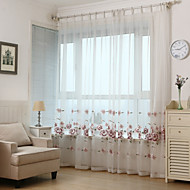 Two Panels Mediterranean European Country Floral Leaf Living Room Curtains
