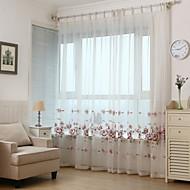 Dva panely Země / Moderní / Neoklasika / Středomořský / Evropský Květiny / S lístky / Réva Červená Obývací pokoj PolyesterSheer Záclony