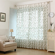Embroidered Leaf Floral  Sheer Curtain (Two Panel)
