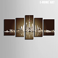 E-HOME® European Style Building Water Reflection Clock in Canvas 5pcs