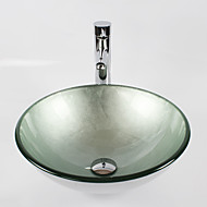 Silver Round Tempered Glass Vessel Sink with Straight Tube  Faucet ,Pop - Up Drain and Mounting Ring
