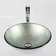Moderní 1.2*42*14.5 Kulatý dřez Materiál je Tvrzené skloKoupelnový dřez kohoutek do koupelny Montážní kroužek do koupelny Koupelnový