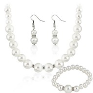 Imitated Peral Inlay Rhinestone Necklace&Earrings Sets White(1Set)