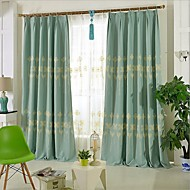 Two Panels Europe Contracted High-Grade Embroidered Linen Curtains