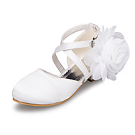 Girl's Flats Spring / Summer / Fall / Winter Round Toe Satin Outdoor / Casual Low Heel Flower Ivory