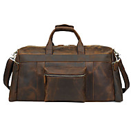 Men Cowhide Casual Travel Bag - Brown