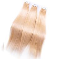 Malásia pu extensões de cabelo de fita de alto grau pele cabelo remy trama # 613 Malásia sedosos cabelos retos humanos 7a