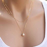 Women's Pendant Necklaces Pearl Necklace Jewelry Pearl Alloy Fashion Simple Style Double-layer Silver Golden Jewelry ForParty Daily