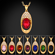 Instyle 18K Chunky Gold Plated Rhinestone Crystal Pendant Ruby High Quality