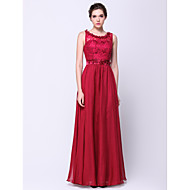 Formal Evening Dress - Burgundy A-line Scoop Floor-length Chiffon / Lace
