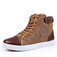 Men's Spring / Fall / Winter Round Toe / Fashion Boots Canvas Casual Flat Heel Lace-up Blue / Brown / Gray Sneaker