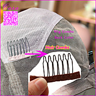 Brown Color Lace Wrap 6 Teeth Combs Wire Spring Comb wig Add to Wig Cap clip Snap For Wig/Hair weft/ 200pcs/lot