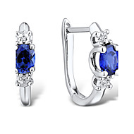 Women's Fashion Sterling Silver set with Create Sapphire and Diamond Earrings