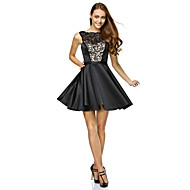 TS Couture Cocktail Party Dress - Black A-line Strapless Short/Mini Lace / Satin