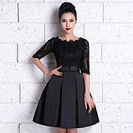 신부 들러리 드레스 - 블랙 A라인 무릎길이 스쿱 레이스 / 사틴